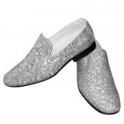 Merkloos Heren disco instap schoenen met zilveren glitters 44 - Verkleedschoenen