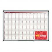 Planner magnetic anual Bi-Silque, zile/luni, rama din aluminiu, 60 x 90 cm