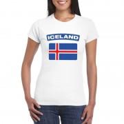 Bellatio Decorations IJslandse vlag shirt wit dames