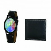 Crude Analog Watch-rg677 With Black Leather Wallet