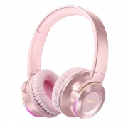 PICUN B9 Bluetooth 5.0 Version Bass Wireless Luminous Clear Music Headphone Support USB Drive/TF Card/AUX Input - Pink