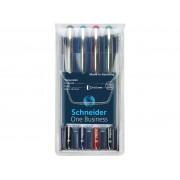 Roller cu cerneala SCHNEIDER One Business, ball point 0.6mm, 4 culori/set - (N,R,A,V)