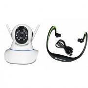 Zemini Wifi CCTV Camera and BS19C Bluetooth Headset for SAMSUNG GALAXY CORE 4 G(Wifi CCTV Camera with night vision |BS19C Bluetooth Headset With Mic )