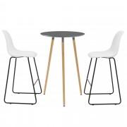 [en.casa] Mesa de bar redonda - diseño - gris oscuro - set de 2 sillas - blanco