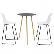 [en.casa]® Комплект кръгла дизайнерска бар маса с 2 стола, Тъмносив/Бял