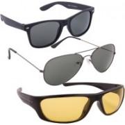 Blackburn Wayfarer, Aviator, Spectacle , Wrap-around Sunglasses(Grey, Green, Yellow)