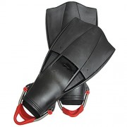 Scuba Choice Scuba Diving Free Dive Spearfishing Black Rubber Fins with SS Spring Heel Straps, Large