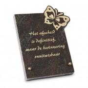 Gedenksteen 18x22cm met Vlinder: Het afscheid is definitief