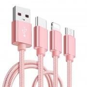 Cablu De Date 3 In 1 Iphone 5/6 + Micro Usb + Type C Roz pt Telefon Tableta