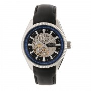 Heritor Automatic Desmond Skeleton Dial Leather-Band Watch - Silver/Black/ Black HERHR6602