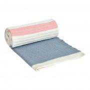Paturica tricotata din bumbac Stripes Light Blue-Pink