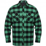 vidaXL Camisa trabalho xadrez fanela forrada, homens verde-preto XXL