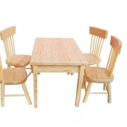 Wood Wooden Dollhouse Furniture Set Miniature Doll House Accessories Sets For Dining Room