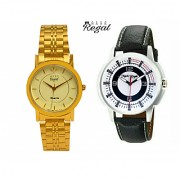 Mark Regal Golden Round+Black Leather Strap Men's Watches Combo of 2