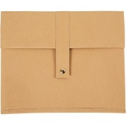 Faux Leather tablet tas, l: 26,5 cm, h: 22 cm, lichtbruin, 1stuk, dikte 350 gr