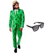 Heren kostuum / pak Sint Patricks Day maat 56 (3XL) - met gratis zonnebril