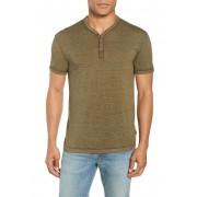 John Varvatos Star USA Burnout Henley T-Shirt OLIVE HTHR