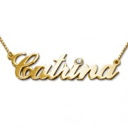 Personalized Men's Jewelry Crystal 14K Double Thickness Yellow Gold Name Necklace 101-01-065-06