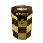 Money Safe Coin Box Savings Banks Wooden Piggy Bank Height 6 inches