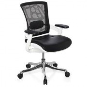 Hjh Sedia ergonomica AIRGUS PELLE, con sostegno lombare regolabile, un pulsante di controllo, in colore nero