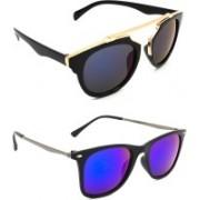 Hrinkar Wrap-around Sunglasses(Grey, Blue)