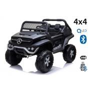 Mașinuță electrică pentru copii Mercedes Unimog, Negru, tracțiune 4x4, baterie 12V / 14Ah, roți EVA, două locuri, Telecomandă 2.4 GHz, 4 X MOTOARE, USB, card SD, Radio