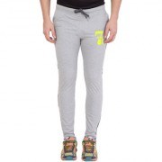 Cliths Light Grey Full Length Mid Rise Cotton Printed Lower for Men