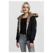 Geaca imitation fur bomber jacket dama - Urban Classics - NEGRU