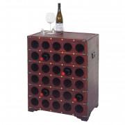 Weinregal Calvados, Flaschenregal Regal Holzregal, für 30 Flaschen Kolonialstil 80x61x40cm ~ Variantenangebot