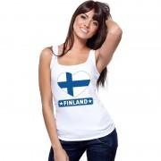 Bellatio Decorations Finland hart vlag mouwloos shirt wit dames