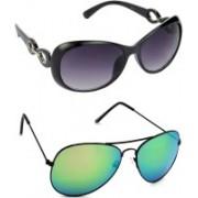 Hrinkar Over-sized Sunglasses(Grey, Green)