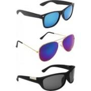 Zyaden Wayfarer, Aviator, Wrap-around Sunglasses(Blue, Blue, Black)