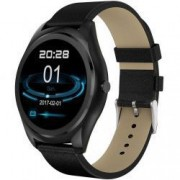 Ceas Smartwatch iUni N3 Plus Curea Piele BT 1.3 Inch IOS si Android Black Bonus Bratara Roca Vulcanica unisex