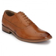 Hirel's Tan Oxford Brogue Cap Toe Synthetic Leather Formal Shoes