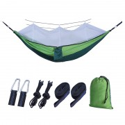 Outdoor Travel Camping Tent Swing Bed Mosquito Net Hanging Hammock - Green/White