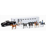 New Ray Ss 15385 Pick Up With Fifth Wheel Horse Trailer Playset, Pack Of 6