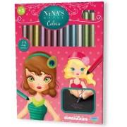 12 creioane colorate metalice