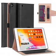 WY-2099 Leather Stand Card Slots Tablet Case with Elastic Band and Hand Strap for iPad 10.2 (2019) - Black