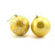 Set 6 globuri aurii cu sclipici floral alb