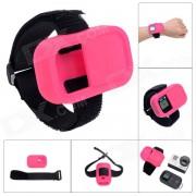 Correa de muneca silicona estuche protector para GoPro Hero3 + / 3 mando Wi-Fi - color rosa oscuro