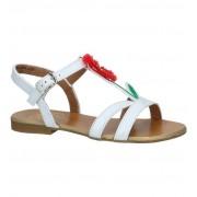 Pom d'Api Flip Bellis Witte Sandalen met Rode Bloem