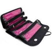 TASHKURST Roll N Go Cosmetic Storage Bags Case Make Up Case Organizer Pouch Toiletry Zip Jewelrey Bag - 1pcs(Black)