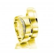 Argollas De Matrimonio Fashion Boutique De México Modelo A24 De Oro Amarillo De 14K Con 8 Diamantes Naturales De .03ct C/u