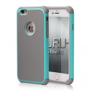 iPhone 6 Case, URUShield [Spring Series] iPhone 6 6s Case [Gray/Turquoise] Quality PC Silicone Defender Best Protective Anti-slip Anti-stretch Impact-resistant Dual Layer Hard Stylish Cover
