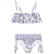 Seafolly Blommig Pop Palace Ruffle Bandeau Bikini Vit 6 years