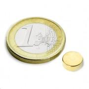 Magnet neodim disc, diametru 8 mm, putere 1,1 kg, placat aur