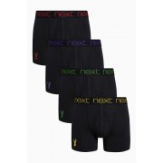 Mens Next Stag Embroidery A-Fronts Four Pack - Black