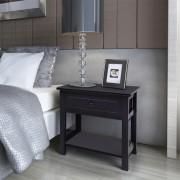 vidaXL Nočný stolík, drevený, čierny