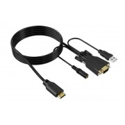 1.2 Meter HDMI to VGA Cable with Analog 3.5mm Audio Extractor USB Powered