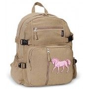 Horse Backpack Canvas Horses Travel or School Bag